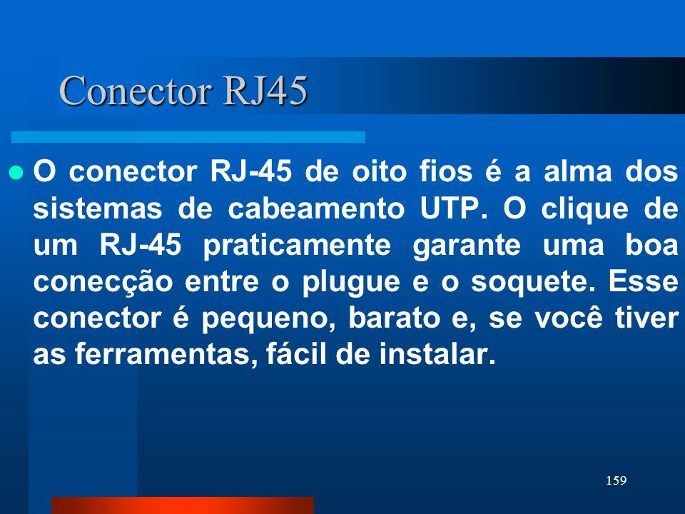 159 Conector RJ45 O conector RJ-45 de oito fios é a alma dos sistemas de cabeamento UTP. O clique de um RJ-45 praticamente garante uma boa conecção en