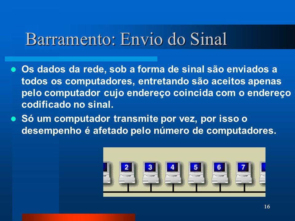 16 Barramento: Envio do Sinal Os dados da rede, sob a forma de sinal são enviados a todos os computadores, entretando são aceitos apenas pelo computad