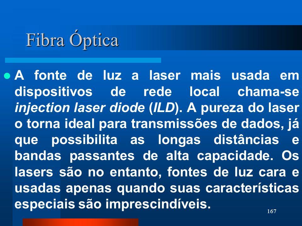 167 Fibra Óptica A fonte de luz a laser mais usada em dispositivos de rede local chama-se injection laser diode (ILD). A pureza do laser o torna ideal