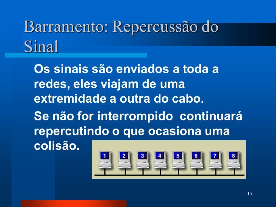 17 Barramento: Repercussão do Sinal Os sinais são enviados a toda a redes, eles viajam de uma extremidade a outra do cabo. Se não for interrompido con
