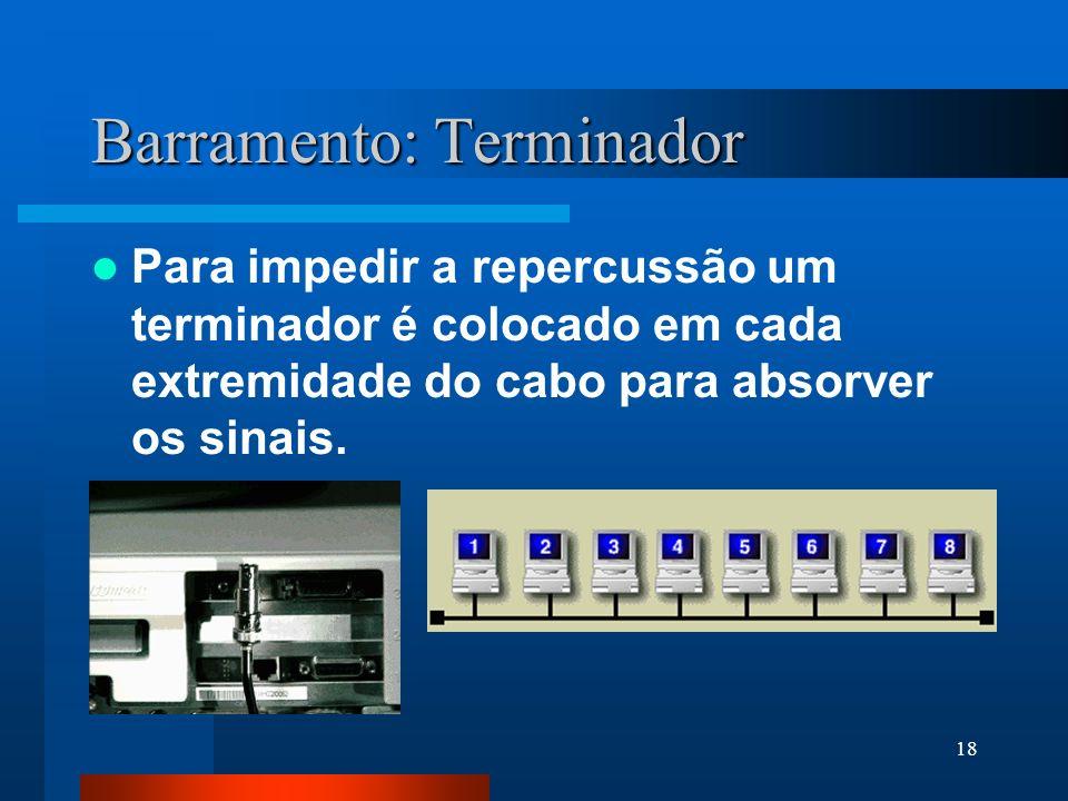18 Barramento: Terminador Para impedir a repercussão um terminador é colocado em cada extremidade do cabo para absorver os sinais.
