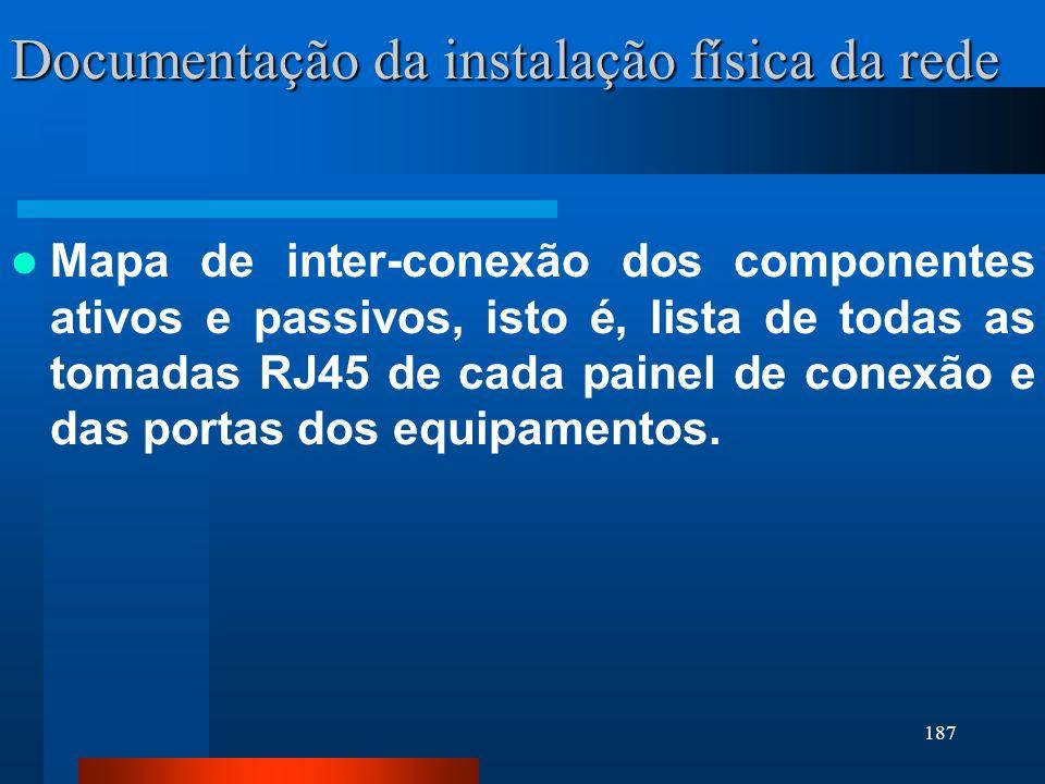 187 Documentação da instalação física da rede Mapa de inter-conexão dos componentes ativos e passivos, isto é, lista de todas as tomadas RJ45 de cada