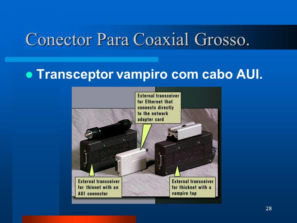28 Conector Para Coaxial Grosso. Transceptor vampiro com cabo AUI.