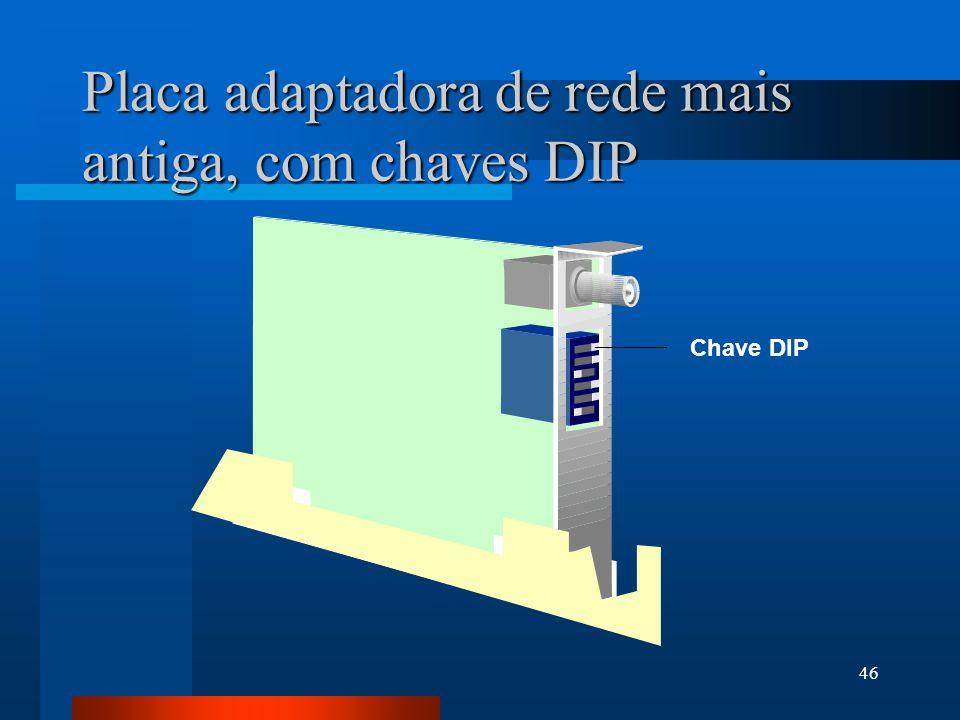 46 Placa adaptadora de rede mais antiga, com chaves DIP Chave DIP