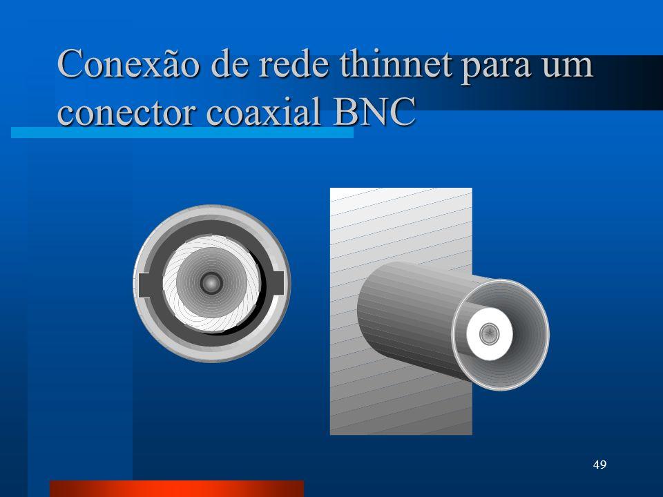49 Conexão de rede thinnet para um conector coaxial BNC