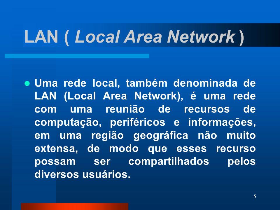 6 WAN ( Wide Area Network ) Também definida como rede remota, a WAN conecta usuários distantes uns aos outros, em geral atravessando limites geográficos de cidades e países.