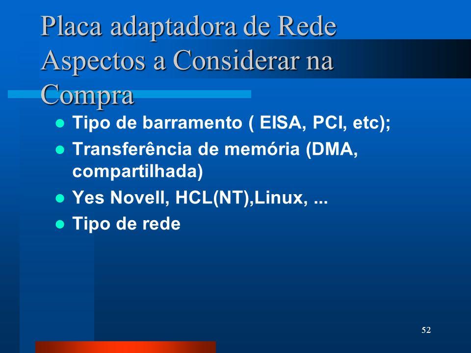 52 Placa adaptadora de Rede Aspectos a Considerar na Compra Tipo de barramento ( EISA, PCI, etc); Transferência de memória (DMA, compartilhada) Yes No