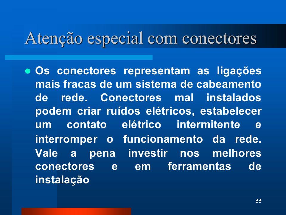 55 Atenção especial com conectores Os conectores representam as ligações mais fracas de um sistema de cabeamento de rede. Conectores mal instalados po