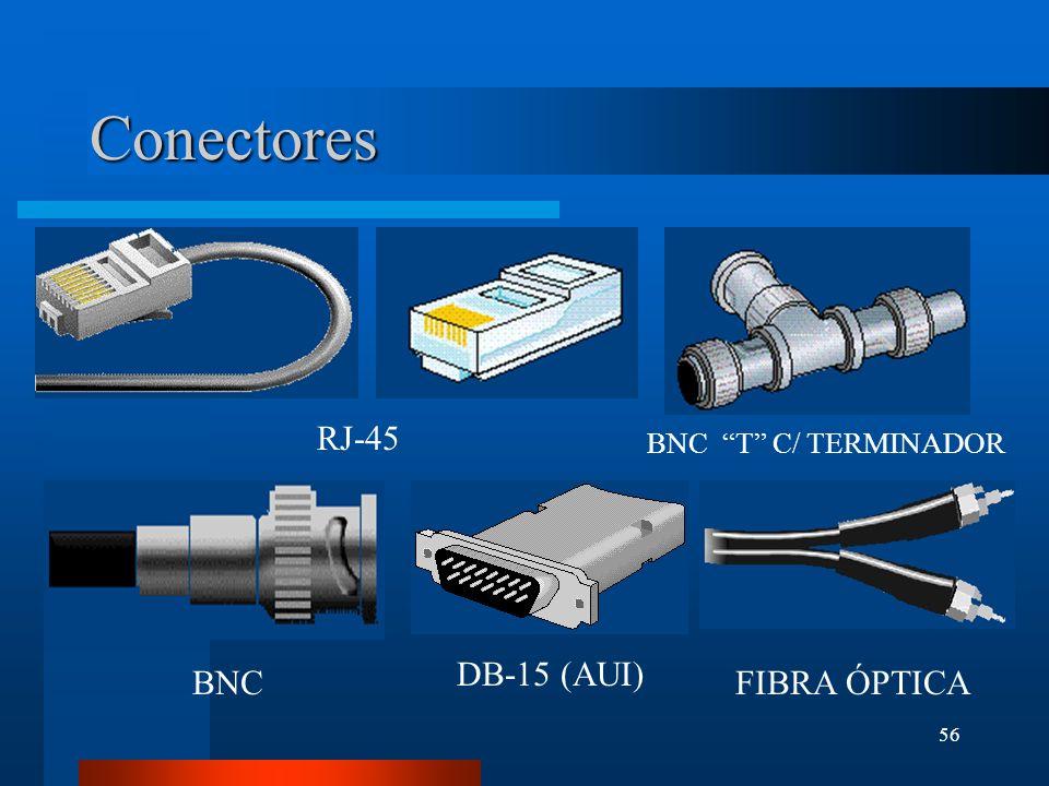 56 Conectores RJ-45 DB-15 (AUI) BNC T C/ TERMINADOR BNCFIBRA ÓPTICA
