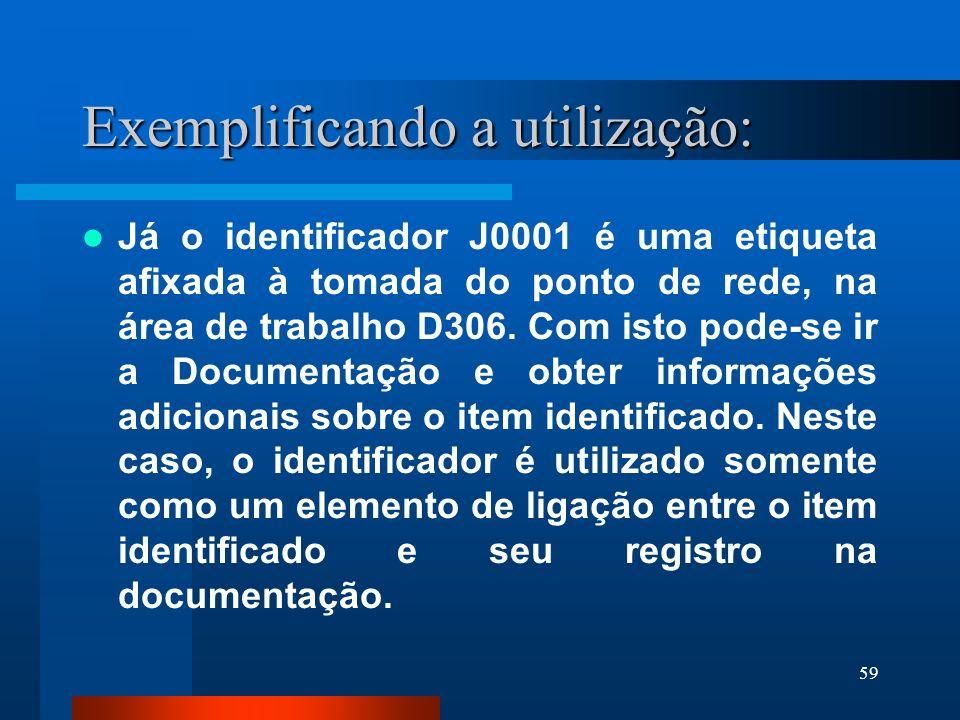 59 Exemplificando a utilização: Já o identificador J0001 é uma etiqueta afixada à tomada do ponto de rede, na área de trabalho D306. Com isto pode-se