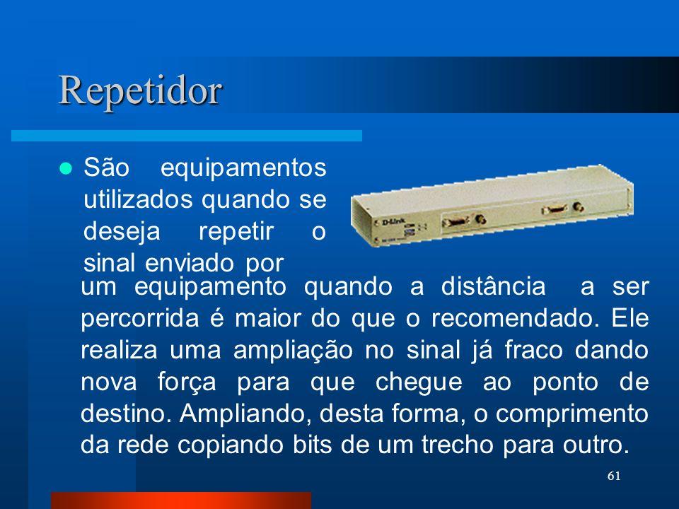 61 Repetidor São equipamentos utilizados quando se deseja repetir o sinal enviado por um equipamento quando a distância a ser percorrida é maior do qu