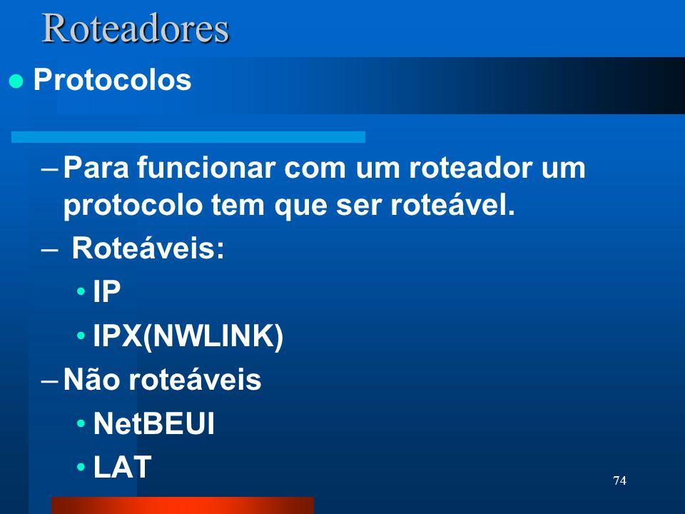 74Roteadores Protocolos –Para funcionar com um roteador um protocolo tem que ser roteável. – Roteáveis: IP IPX(NWLINK) –Não roteáveis NetBEUI LAT