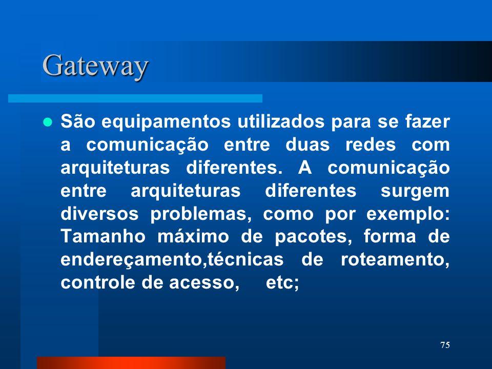 75 Gateway São equipamentos utilizados para se fazer a comunicação entre duas redes com arquiteturas diferentes. A comunicação entre arquiteturas dife