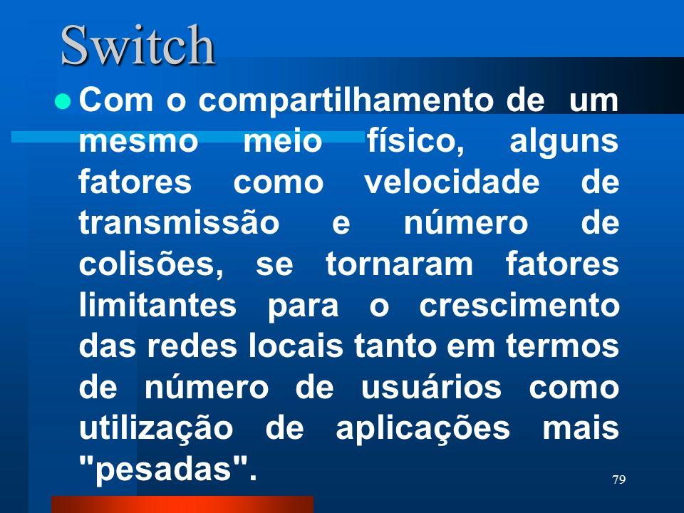 79Switch Com o compartilhamento de um mesmo meio físico, alguns fatores como velocidade de transmissão e número de colisões, se tornaram fatores limit