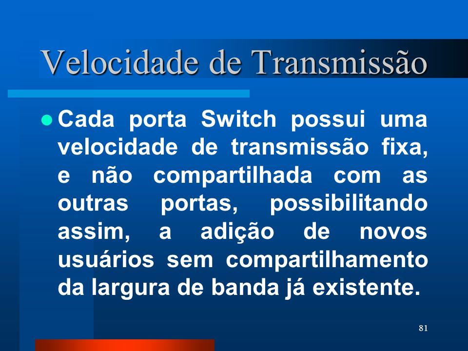 81 Velocidade de Transmissão Cada porta Switch possui uma velocidade de transmissão fixa, e não compartilhada com as outras portas, possibilitando ass