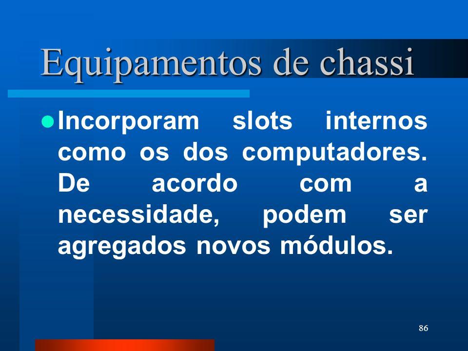 86 Equipamentos de chassi Incorporam slots internos como os dos computadores. De acordo com a necessidade, podem ser agregados novos módulos.