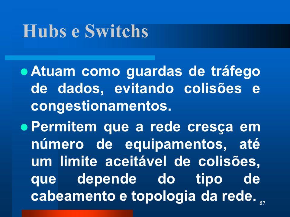 87 Hubs e Switchs Atuam como guardas de tráfego de dados, evitando colisões e congestionamentos. Permitem que a rede cresça em número de equipamentos,