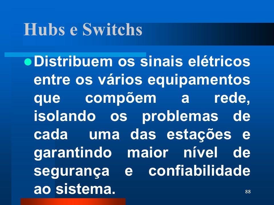 88 Hubs e Switchs Distribuem os sinais elétricos entre os vários equipamentos que compõem a rede, isolando os problemas de cada uma das estações e gar
