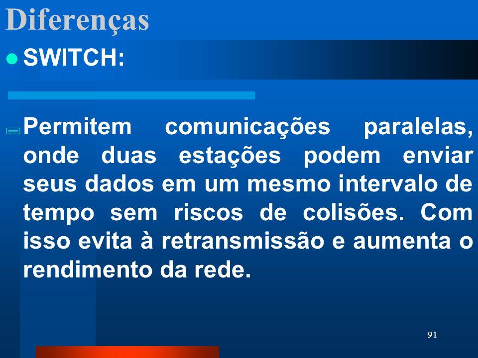 91 Diferenças SWITCH: Permitem comunicações paralelas, onde duas estações podem enviar seus dados em um mesmo intervalo de tempo sem riscos de colisõe