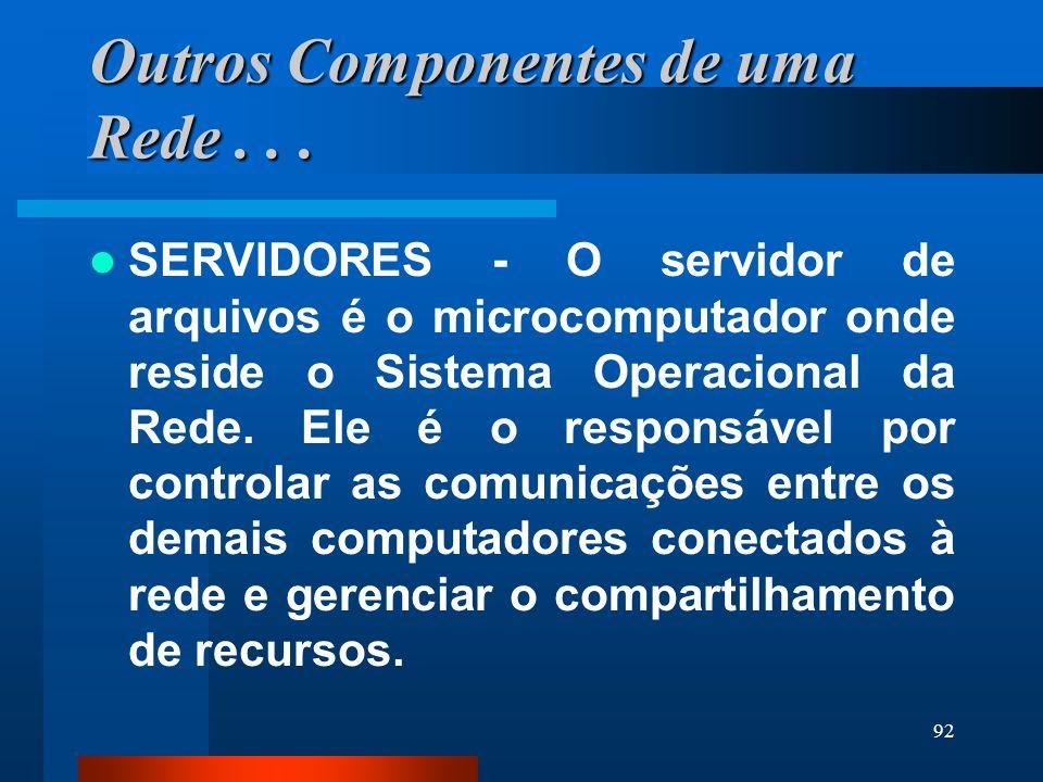 92 Outros Componentes de uma Rede... SERVIDORES - O servidor de arquivos é o microcomputador onde reside o Sistema Operacional da Rede. Ele é o respon