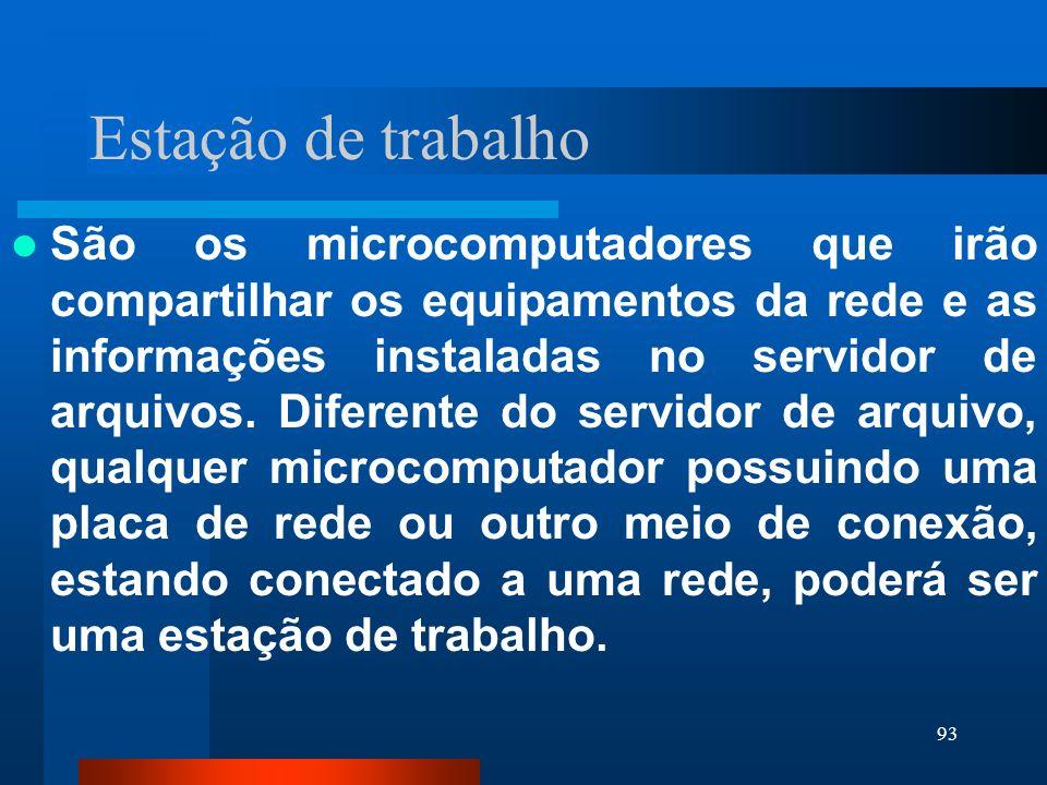 93 Estação de trabalho São os microcomputadores que irão compartilhar os equipamentos da rede e as informações instaladas no servidor de arquivos. Dif