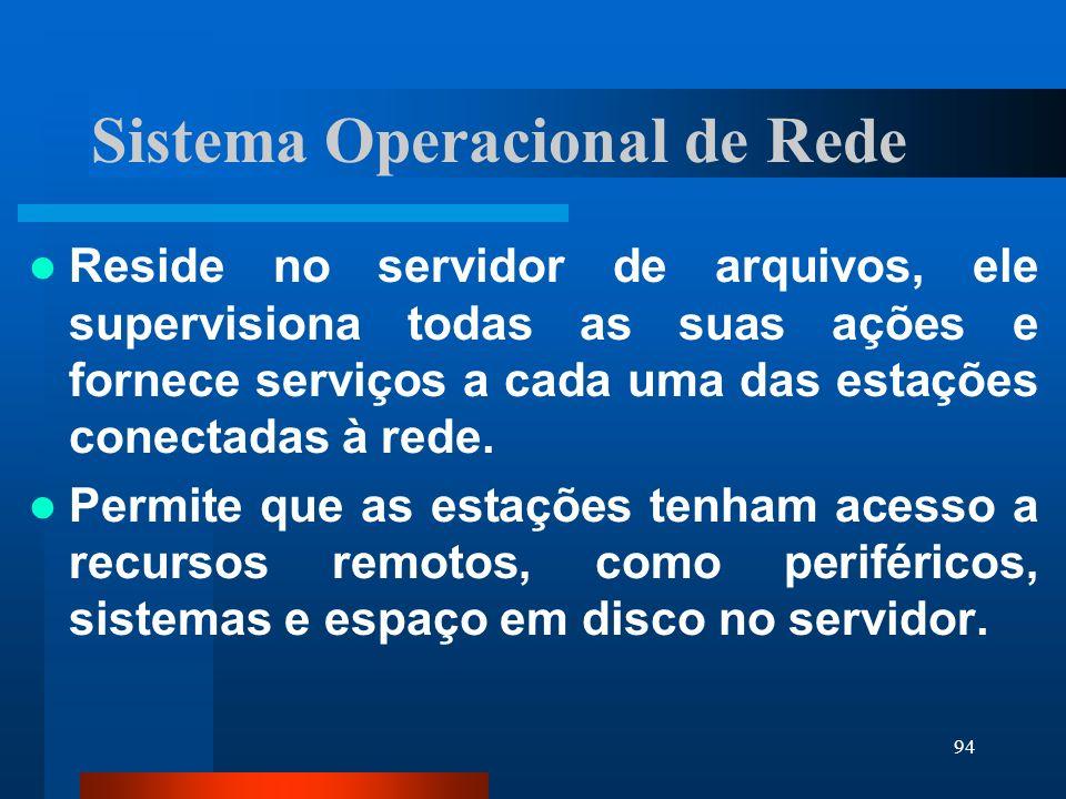 94 Sistema Operacional de Rede Reside no servidor de arquivos, ele supervisiona todas as suas ações e fornece serviços a cada uma das estações conecta