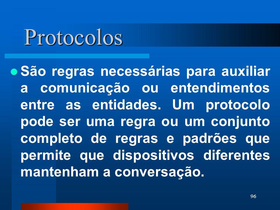 96 Protocolos São regras necessárias para auxiliar a comunicação ou entendimentos entre as entidades. Um protocolo pode ser uma regra ou um conjunto c