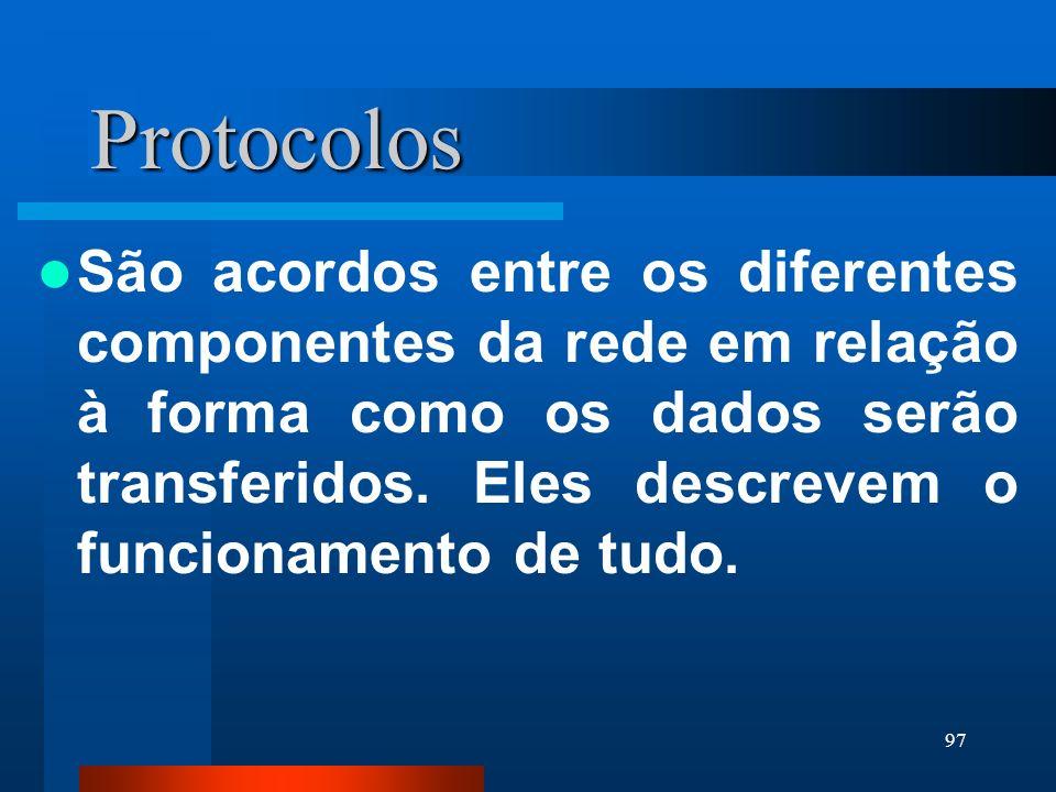 97 Protocolos São acordos entre os diferentes componentes da rede em relação à forma como os dados serão transferidos. Eles descrevem o funcionamento