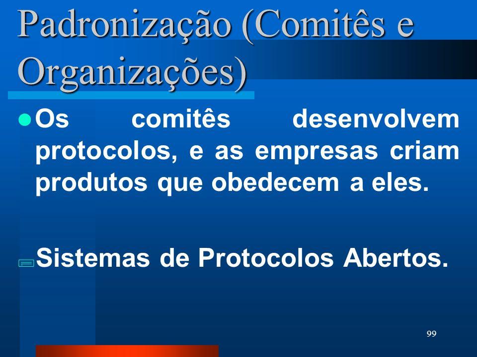 99 Padronização (Comitês e Organizações) Os comitês desenvolvem protocolos, e as empresas criam produtos que obedecem a eles. Sistemas de Protocolos A