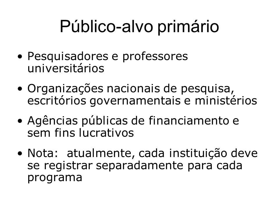 Público-alvo primário Pesquisadores e professores universitários Organizações nacionais de pesquisa, escritórios governamentais e ministérios Agências