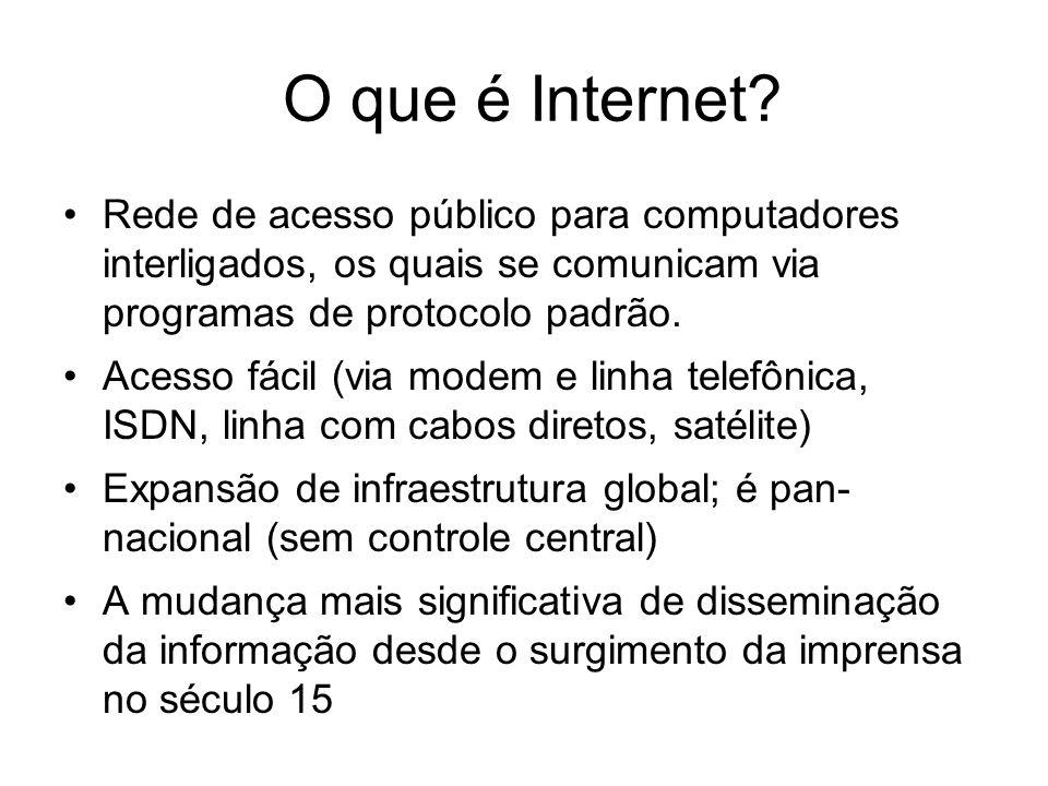 O que é Internet? Rede de acesso público para computadores interligados, os quais se comunicam via programas de protocolo padrão. Acesso fácil (via mo