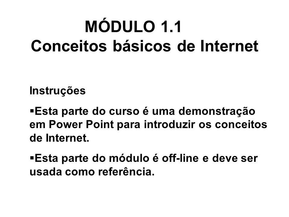 Instruções Esta parte do curso é uma demonstração em Power Point para introduzir os conceitos de Internet. Esta parte do módulo é off-line e deve ser