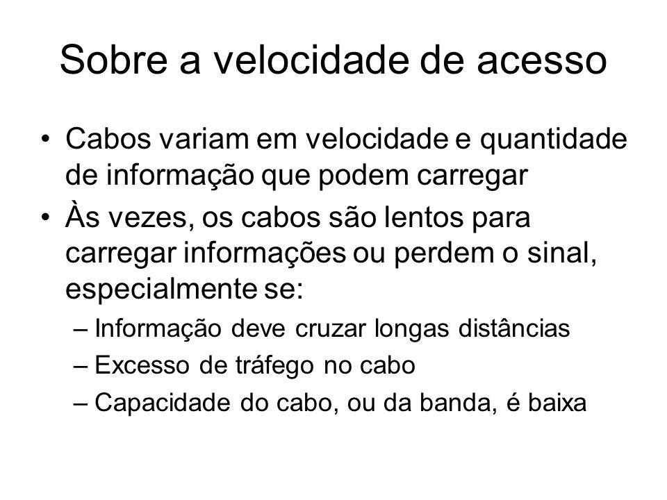 Sobre a velocidade de acesso Cabos variam em velocidade e quantidade de informação que podem carregar Às vezes, os cabos são lentos para carregar info