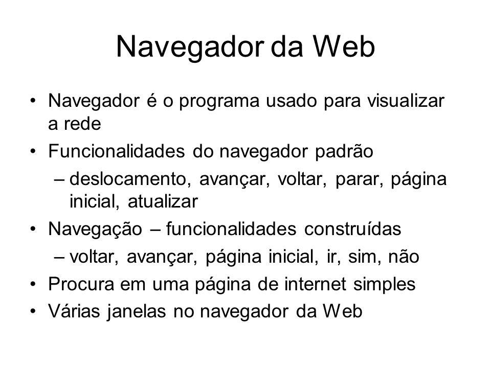 Navegador da Web Navegador é o programa usado para visualizar a rede Funcionalidades do navegador padrão –deslocamento, avançar, voltar, parar, página