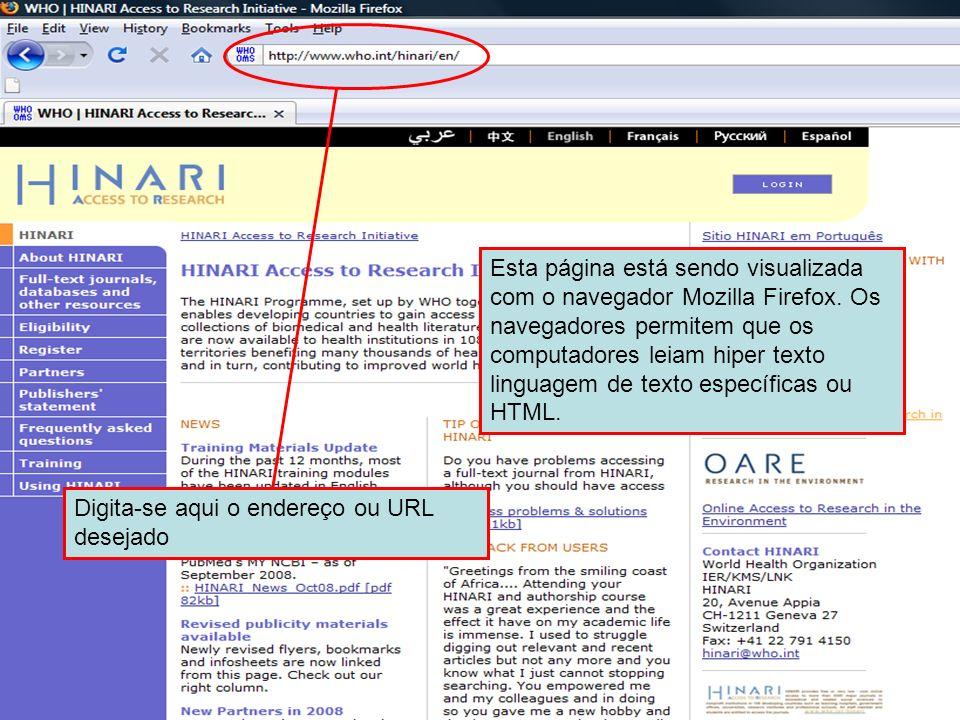 The Internet Address or URL Esta página está sendo visualizada com o navegador Mozilla Firefox. Os navegadores permitem que os computadores leiam hipe