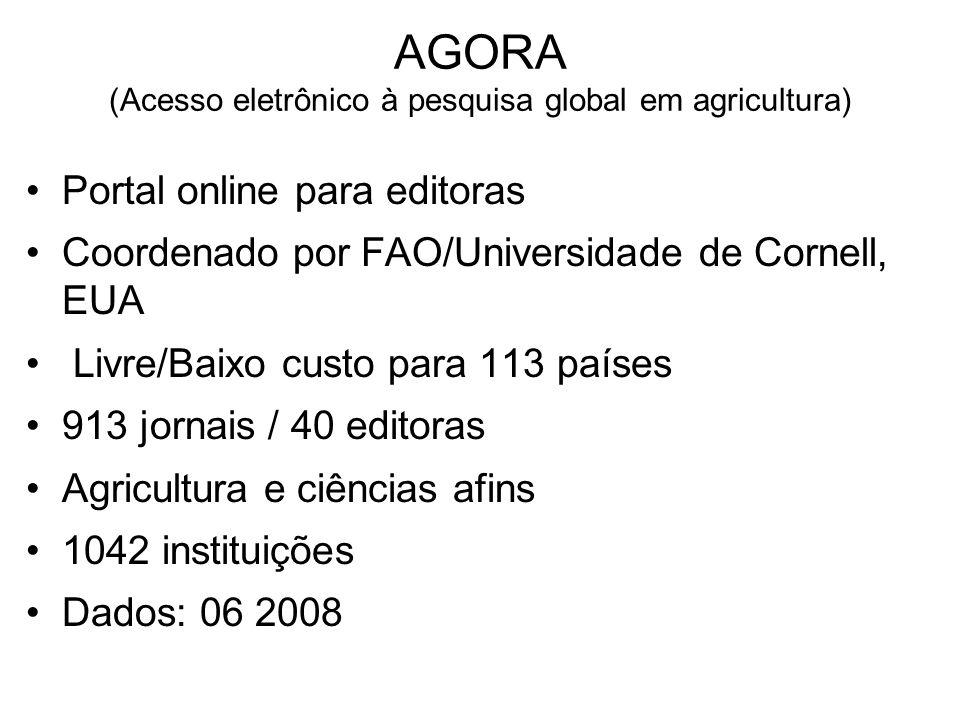 AGORA (Acesso eletrônico à pesquisa global em agricultura) Portal online para editoras Coordenado por FAO/Universidade de Cornell, EUA Livre/Baixo cus