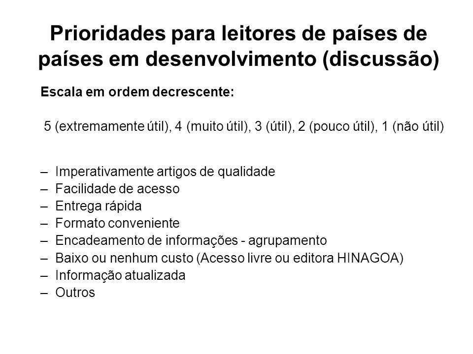 Prioridades para leitores de países de países em desenvolvimento (discussão) Escala em ordem decrescente: 5 (extremamente útil), 4 (muito útil), 3 (út