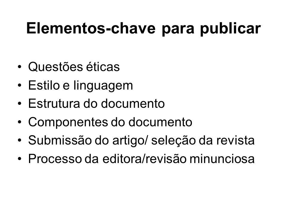 Elementos-chave para publicar Questões éticas Estilo e linguagem Estrutura do documento Componentes do documento Submissão do artigo/ seleção da revis