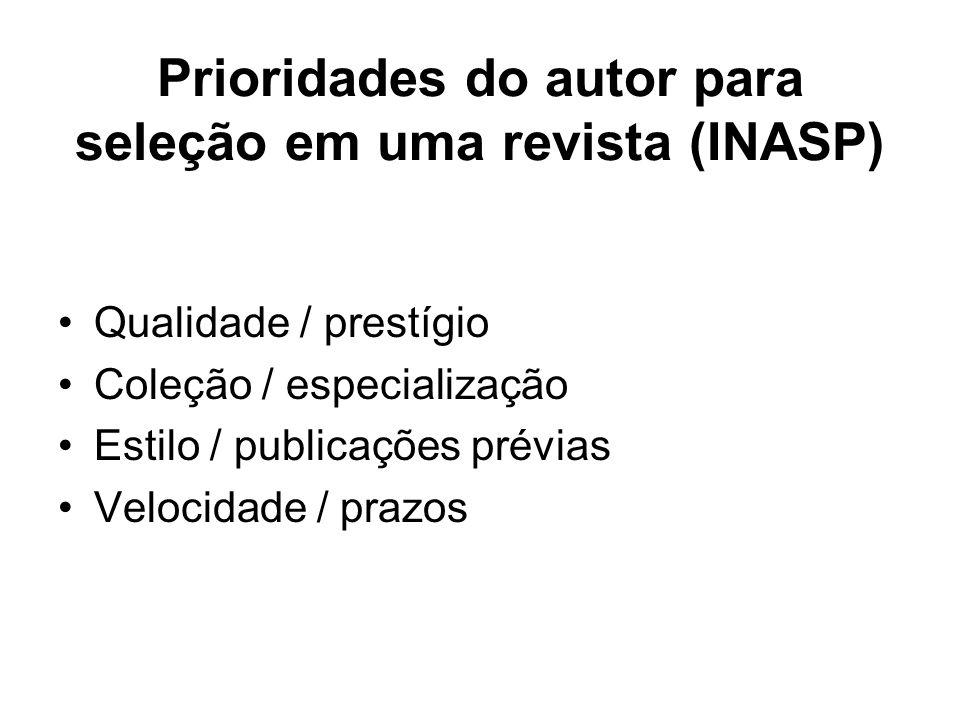 Prioridades do autor para seleção em uma revista (INASP) Qualidade / prestígio Coleção / especialização Estilo / publicações prévias Velocidade / praz