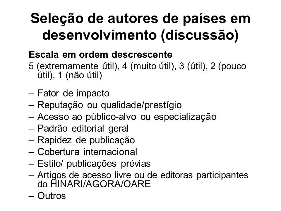 Seleção de autores de países em desenvolvimento (discussão) Escala em ordem descrescente 5 (extremamente útil), 4 (muito útil), 3 (útil), 2 (pouco úti