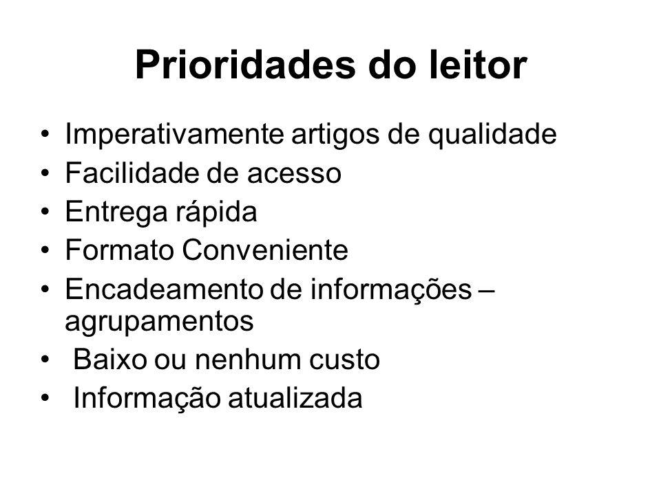 Prioridades do leitor Imperativamente artigos de qualidade Facilidade de acesso Entrega rápida Formato Conveniente Encadeamento de informações – agrup