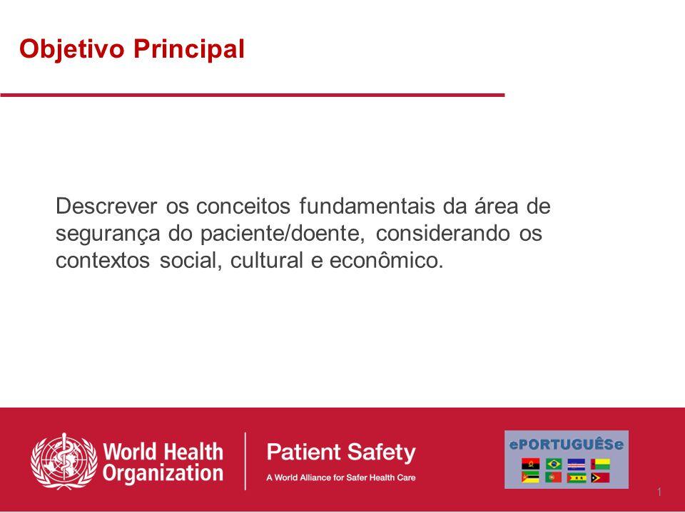 Objetivo Principal Descrever os conceitos fundamentais da área de segurança do paciente/doente, considerando os contextos social, cultural e econômico.