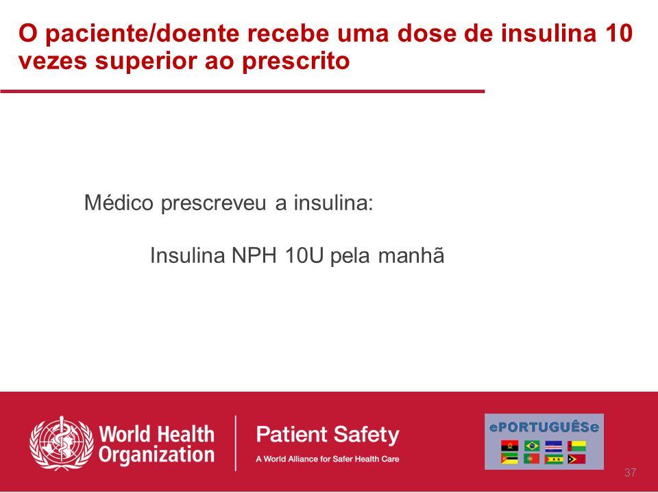 O paciente/doente recebe uma dose de insulina 10 vezes superior ao prescrito Médico prescreveu a insulina: Insulina NPH 10U pela manhã 37