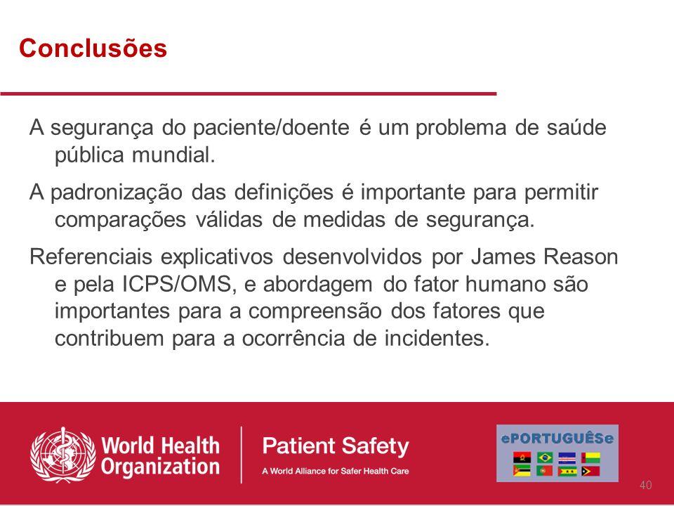 Conclusões A segurança do paciente/doente é um problema de saúde pública mundial.