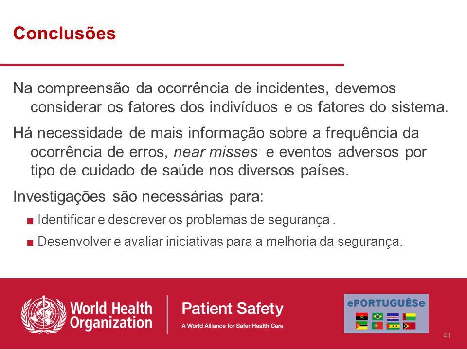 Conclusões Na compreensão da ocorrência de incidentes, devemos considerar os fatores dos indivíduos e os fatores do sistema.