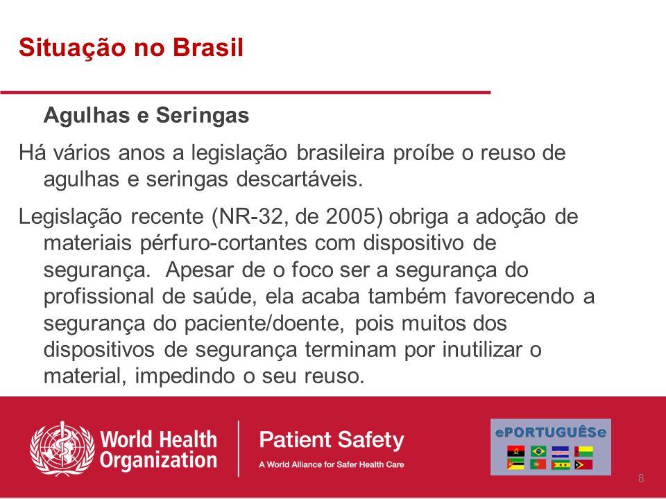 Situação no Brasil Agulhas e Seringas Há vários anos a legislação brasileira proíbe o reuso de agulhas e seringas descartáveis.