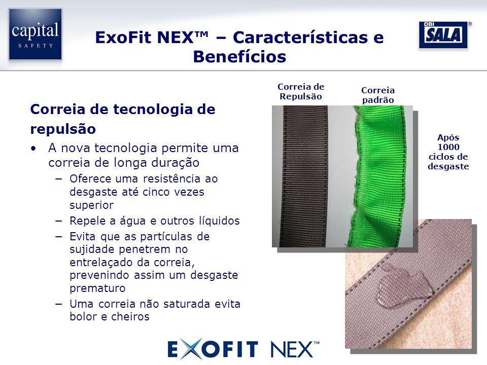 ExoFit NEX – Características e Benefícios Correia de tecnologia de repulsão A nova tecnologia permite uma correia de longa duração Oferece uma resistê