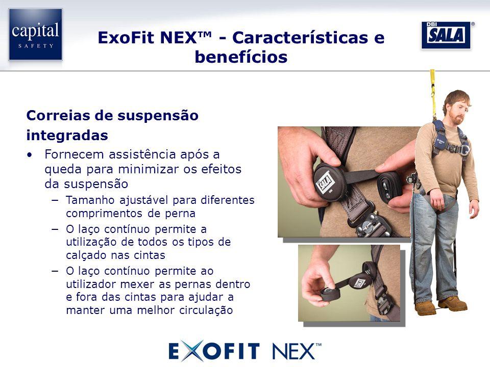ExoFit NEX - Características e benefícios Correias de suspensão integradas Fornecem assistência após a queda para minimizar os efeitos da suspensão Ta