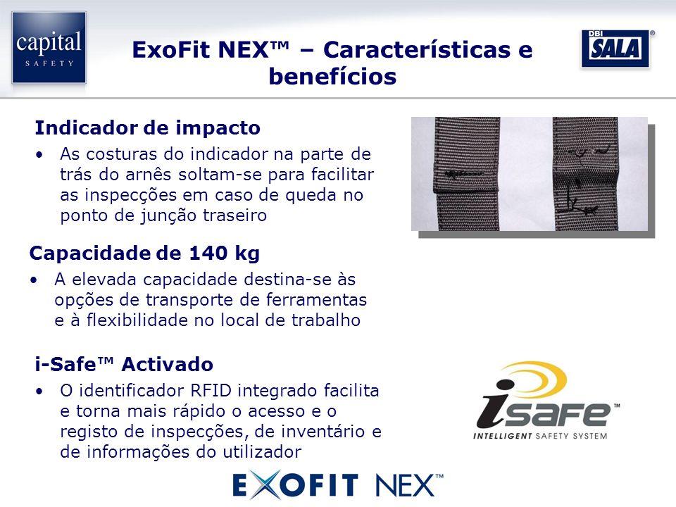 ExoFit NEX – Características e benefícios Capacidade de 140 kg A elevada capacidade destina-se às opções de transporte de ferramentas e à flexibilidad