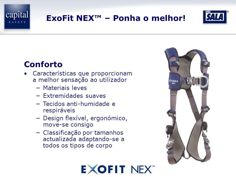 ExoFit NEX – Ponha o melhor! Conforto Características que proporcionam a melhor sensação ao utilizador Materiais leves Extremidades suaves Tecidos ant